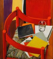 Renato Guttuso. Opere 1937 - 1986 Renato Guttuso, Sedia rossa libri e bicchiere, 1968, olio su tela, cm 90x81