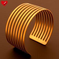Ocelový náramek -  Parallel Golden