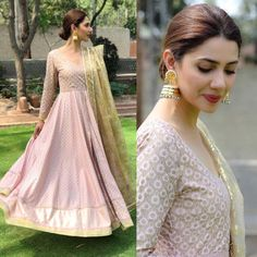 #MahiraKhan wears a beautiful anarkali dress complementing her look with some beautiful jhumkas. ✨👀 earrings by @esfirjewels