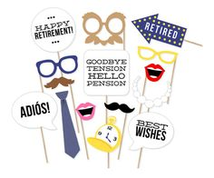 Printable Retirement Photo Booth Props - Retirement Party Photobooth Props - Retirement Party Decorations - Retirement Photo Props