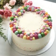 Coral buttercream cake