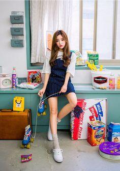 I know you wanna kiss me. Thank you for visiting CHUU. Cute Fashion, Girl Fashion, Fashion Outfits, Female Fashion, Korean Street Fashion, Asian Fashion, Ulzzang Fashion, Ulzzang Style, Jumper Dress