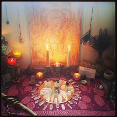My personal altar. Re dressed this morning with quartz crystal grid / Sacred Spaces Pagan Altar, Wiccan, Witchcraft, Crystal Grid, Quartz Crystal, Personal Altar, Home Altar, Tarot, Meditation Space