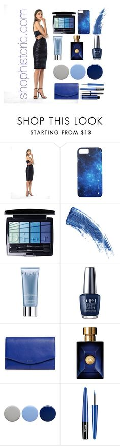 """""""Glacier Dress - Historic New York"""" by fashionhistoric ❤ liked on Polyvore featuring Christian Dior, Eyeko, Orlane, OPI, Versace, Burberry and Clinique"""