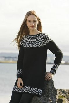 the online pattern store Knitting Kits, Fair Isle Knitting, Sweater Knitting Patterns, Long Sweaters, Black Sweaters, Icelandic Sweaters, Fair Isle Pattern, Knitted Bags, Knitwear