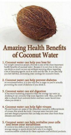 Coconut Water the Natural Summer Drink. Coconut water is a very refreshing drink to beat tropical summer thirst. Tender coconut water is a natural source of nutrition, hydration and provides many health benefits. Healthy Drinks, Healthy Tips, Healthy Food, Healthy Weight, Stay Healthy, Healthy Smoothies, Healthy Habits, Smoothie Recipes, Salad Recipes