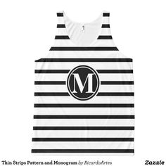 Thin Strips Pattern and Monogram All-Over Print Tank Top Tank Tops