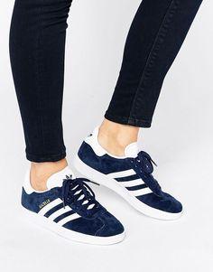 Image 1 of adidas Originals Navy Suede Gazelle Sneakers