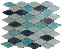 Wavy Shaped Glass Mosaic Tile, Sky Blue and White, 1 Carton ( 11 Sheets / 11 Sq - contemporary - Mosaic Tile - GL Stone LTD