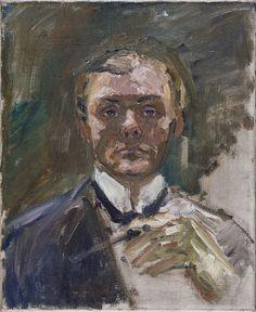 Beckmann, Max - Автопортрет с поднятой рукой, 1908, 55 cm x 45 cm, Холст, масло. Коллекция Музея Тиссена-Борнемиссы, Мадрид.