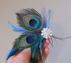 Peacock Feather Hair Clip/Head Piece for Prom or by justanns, $25.00