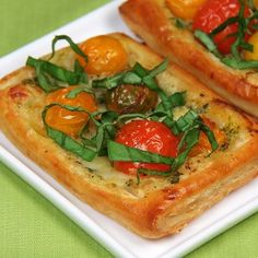 Tomato, Pesto and Fresh Mozzarella Tarts. These simple but elegant tarts are perfect as an appetizer or as a light meal when paired with a salad.