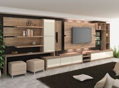 48 Ideas home theater planejado sala Tv Wall Design, Design Case, House Design, Living Room Tv, Home And Living, Home Theater Installation, Muebles Living, Home Deco, Living Room Designs
