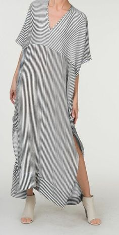 Dresses,Casual Dress,V neck White Women Striped Loose Slit Casual Dress,TESTW 2019 - summer wedding dresses casual dress for wedding casual shoes dress casual dress casual outfits dress smart casual - hashcats} - Cocktail Dress Summer 2019 Simple Dresses, Casual Dresses, Summer Dresses, Boho Fashion, Fashion Dresses, Womens Fashion, Fashion Design, Fashion Ideas, Mode Style