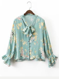 Women Spring Ruffles Bow Tie V neck Floral Shirts Long Sleeve Loose Blouse Ladies Casual Brand Tops Blusas Mujer Fashion 2017, Hijab Fashion, Fashion Outfits, Style Fashion, Blouse Jaune, Blouse Fleurie, Hijab Stile, Top Mode, Floral Blouse