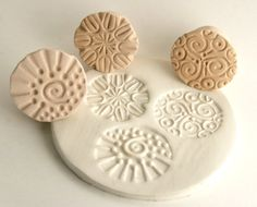 Ceramic Stamps, Choose Your Pattern, Round Texture Stamps in Bisque, Pottery, Poly Clay, Jewelry Making Tools