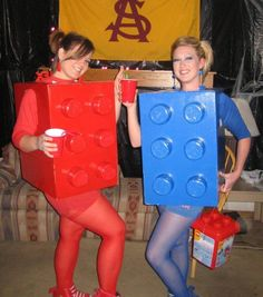 Lego costume (box, ziploc containers, primer, paint, and hot glue!)