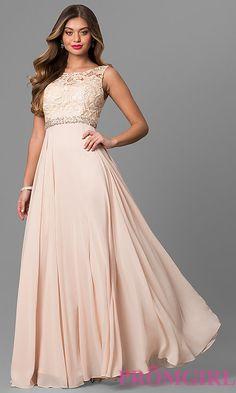 Long Formal Sleeveless Chiffon Dress with Lace Bodice 5612ae1ed0a0