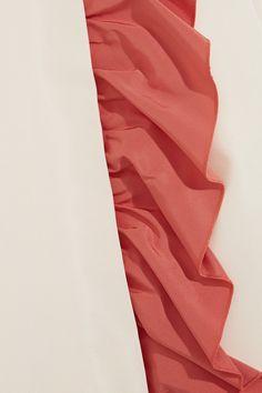 Prada - Color-block Ruffled Silk-faille Mini Dress - Ivory - IT42