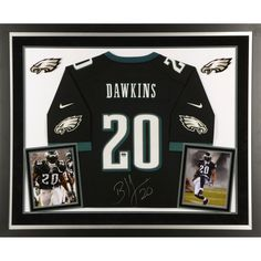 ae303236b4f Brian Dawkins Philadelphia Eagles Deluxe Framed Autographed Nike Black  Limited Jersey
