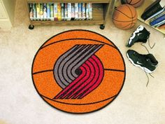 Portland Trail Blazers Basketball Shaped Area Rug Welcome/Door Mat