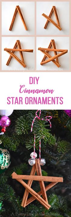These Cinnamon Star Ornaments are a really simple Christmas craft that even the kids can make! Christmas Ornament Crafts, Star Ornament, Christmas Crafts For Kids, Simple Christmas, Christmas Tree Ornaments, Holiday Crafts, Holiday Fun, Christmas Holidays, Christmas Decorations