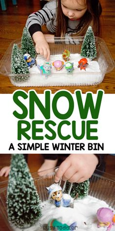 Winter sensory bin: a quick and easy indoor activity - busy toddler Snow Activities, Winter Activities For Kids, Toddler Learning Activities, Christmas Toddler Activities, Toddler Games, Motor Activities, Indoor Activities, Sensory Activities, Toddler Crafts