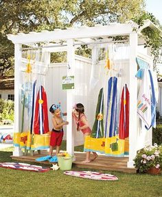 I want this in my backyard!!! The kids can shower off after going to the pool! Or dog bathes, or washing mud off......