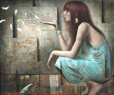 Artist Sergio Cerchi in his works managed to combine artistic images and geometric space. Archetypes, Beautiful Paintings, Figurative Art, Female Art, Art Images, Les Oeuvres, Fantasy Art, Cool Art, Graffiti