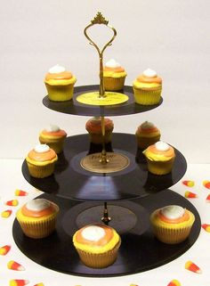 Recycled Record Cupcake stands