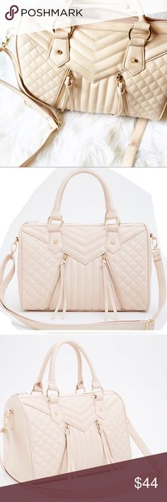 """Blush color quilted bag Blush colored with cute quilted design. Has shoulder and crossbody straps that are removable, all gold hardware. Inside has had 1 zippered pocket and 2 side pockets, approx 9.5"""" H approx 5-7 depth and 14"""" W crossbody strap is adjustable 56"""" L. Brand new from non smoking home torrid Bags"""