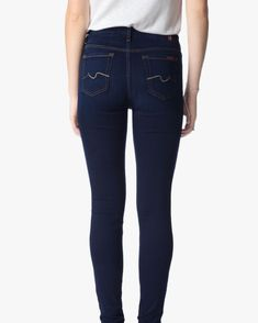 B(air) Denim Skinny With Spice Contrast Squiggle in Tranquil Blue - 7FORALLMANKIND