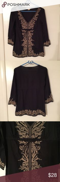 MK boho chic flowy top. Navy blue with tan embroidery. Sleeves are slight bell, there's a tie at the waist, deep v neck. Small slit at bottom front. 100% cotton. EUC, no signs of wear. MICHAEL Michael Kors Tops