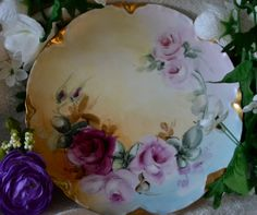 Antique Hand Painted Floral Plate Haviland China by SimplyChina