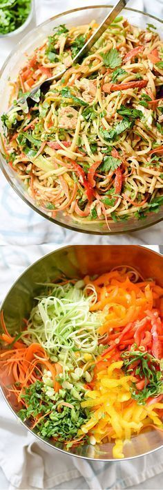This Asian-flavored pasta salad is one of my most popular all-in-one meals on… Will,use gluten free pasta. This Asian-flavored pasta salad is one of my most popular all-in-one meals on… Will,use gluten free pasta. Soup And Salad, Pasta Salad, Noodle Salad, Asian Recipes, Healthy Recipes, Healthy Salads, Peanut Noodles, Rice Noodles, Zucchini Noodles