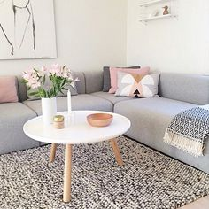 Grey, pink and white living room | Normann Copenhagen Pablo coffee table available at www.istome.co.uk