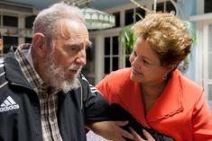 Fidel Castro recibe a Dilma Rousseff en La Habana, en enero de 2014.