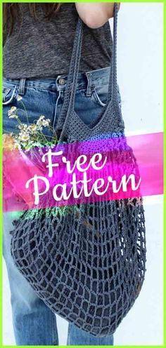 Crochet French Market Mesh Bag #crochetbag #bag #bagpattern #freepatterns #beautifulbag