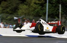 Adelaide, November 1993: In his first year with McLaren, the 'Flying Finn' launches his MP4-8 into the air at the Malthouse Corner during a practice lap for the Australian Grand Prix. © Sutton