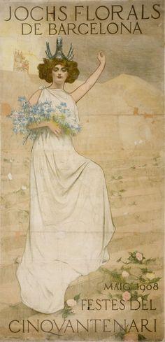 Ramon Casas, Retrat de Julia Peraire al Cartell dels Jocs Florals (1908) MNAC