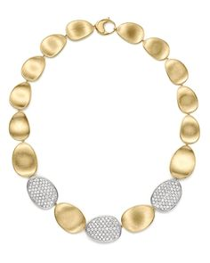 """Marco Bicego Diamond Lunaria Large Collar Necklace in 18K Gold, 17.75"""" 