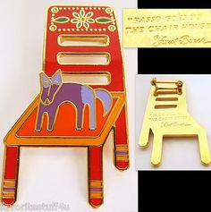 "1992 Laurel Burch ~ Dog Pin "" Basso Goes to the Chair House"" 22k Gold Plated & Cloisonne. Retired + RARE!  SOLD!"
