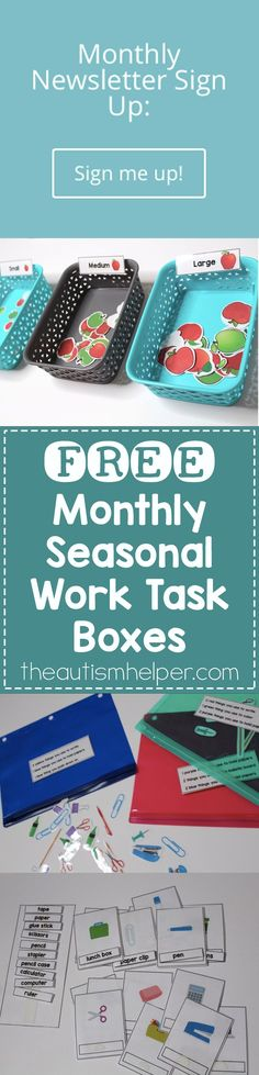I�ve got a SUPER exciting new promo coming at ya! This school year we will be giving 3 FREE seasonal work tasks each month. You can grab these work tasks only through the newsletter so be sure to sign up!! From theautismhelper.com #theautismhelper