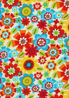 Bright Owl Cream Tossed Flowers by Alice Kennedy by Timeless Treasures - 1 yard. $8.99, via Etsy.