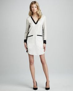 Sequined Contrast Shirtdress by Dallin Chase at Neiman Marcus.