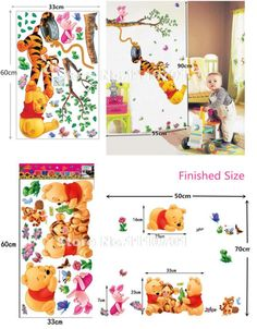 Home Decor | Pooh tree Animal Cartoon Vinyl Wall stickers for kids rooms Home decor DIY Child Wallpaper Art Decals 3D Design House Decoration – US $1.84