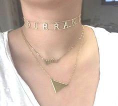 CZ block Name Choker $115 www.jewelsbydurrani.com