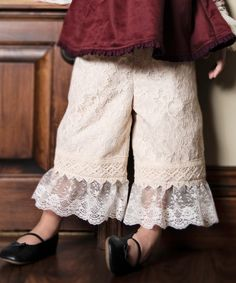 Cream Lace Gaucho Pants - Infant, Toddler & Girls #zulily *so cute