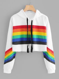 Rainbow Striped Print Crop Hoodie From Runway to Realway, Romwe aims to bring the top fast fashion into your days Teen Fashion Outfits, Trendy Outfits, Cool Outfits, Fasion, Crop Top Hoodie, Cropped Hoodie, Crop Top Sweater, White Hoodie, Mode Pop