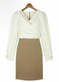 Long Sleeve V Neck Work Dress
